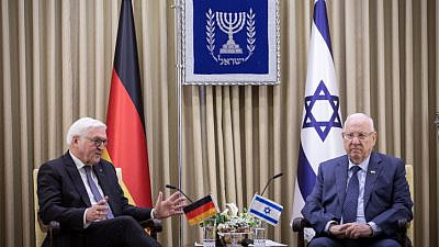 German President Frank-Walter Steinmeier meets with Israeli President Reuven Rivlin at the President's Residence in Jerusalem on Jan. 22, 2020. Photo by Hadas Parush/Flash90.