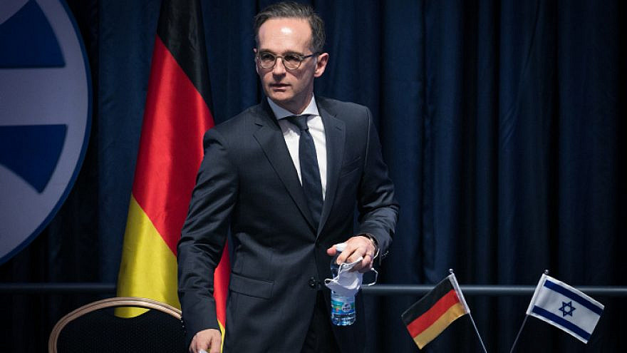German Foreign Minister Heiko Maas at the Israeli Ministry of Foreign Affairs in Jerusalem on June 10, 2020. Photo by Olivier Fitoussi/Flash90.