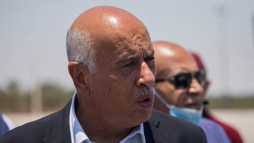 Fatah Central Committee Secretary General Jibril Rajoub and former Israeli parliament members hold a press conference to protest against Israel's plan to annex parts of the West Bank, near Jericho, in the West Bank, on July 1, 2020. Photo by Yonatan Sindel/Flash90.