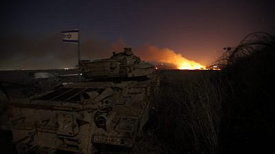 File photo: View of a large fire broke on the Israeli-Syrian border in northern Israel on Oct. 26, 2020. Photo by Maor Kinsbursky/Flash90.
