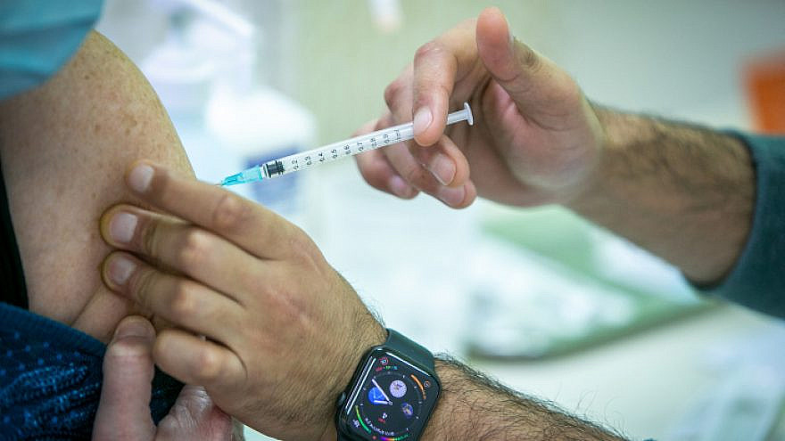 A COVID-19 vaccine administered at a vaccination center in Rehovot on Jan. 4, 2021. Photo by Yossi Aloni/Flash90.