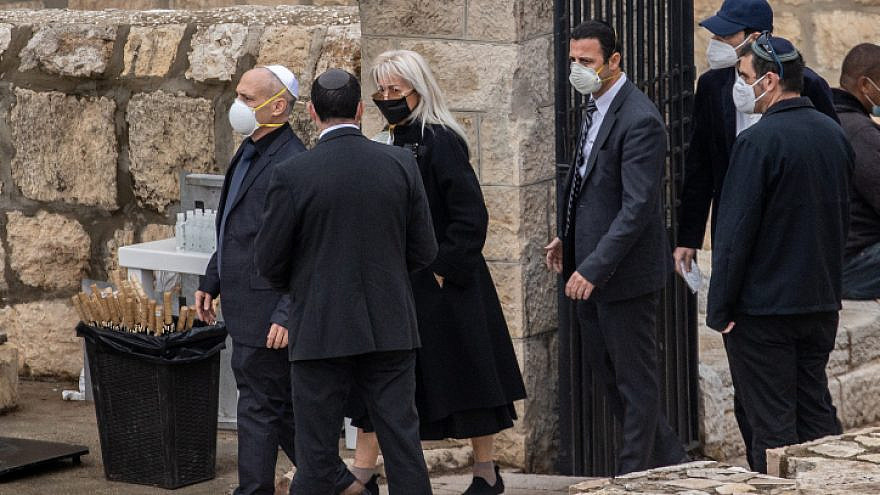Dr. Miriam Adelson, wife of businessman and philanthropist Sheldon Adelson, arrives at her husband's funeral in the Mount of Olives in Jerusalem on Jan. 15, 2021. Photo by Yonatan Sindel/Flash90.