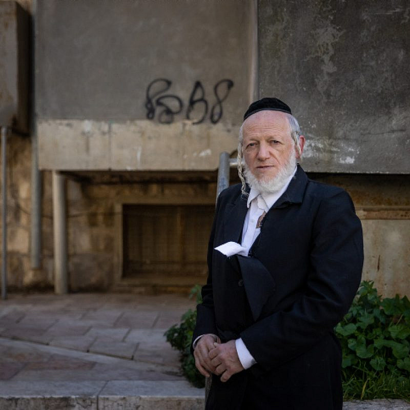 Yehuda Meshi Zahav, chairman of Israel's Zaka rescue unit outside sitting shivah for his mother in the ultra-Orthodox neighborhood of Mea Shearim in Jerusalem, Jan. 19, 2021. Photo by Yonatan Sindel/Flash90.