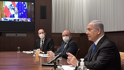 Israeli Prime Minister Benjamin Netanyahu in a video conference with world leaders on Jan 18, 2021. Credit: Kobi Gideon/GPO.