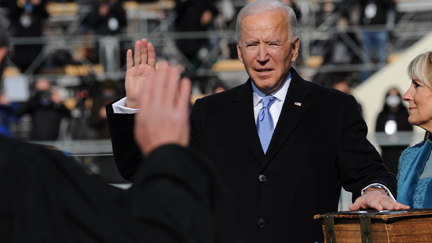 The 46th president of the United States, Joe Biden, takes the oath of office. Jan. 20, 2021. Credit: Wikimedia Commons.