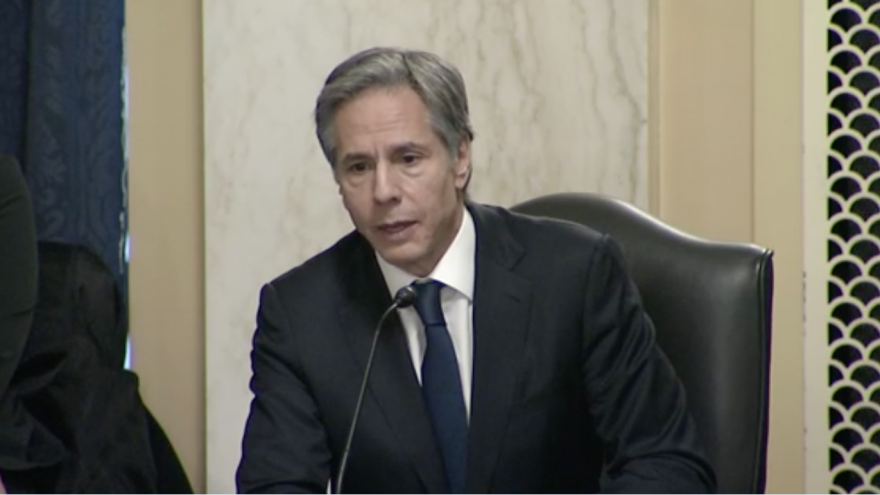 Tony Blinken testifies in front of the U.S. Senate Foreign Relations Committee during his nomination hearing to be U.S. Secretary of State. Source: Screenshot.