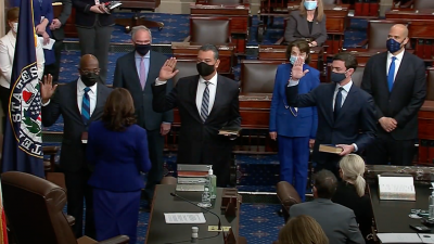 Sen. Jon Ossoff (D-Ga.), bottom right, is sworn into office on Jan. 20, 2021. Source: Screenshot.
