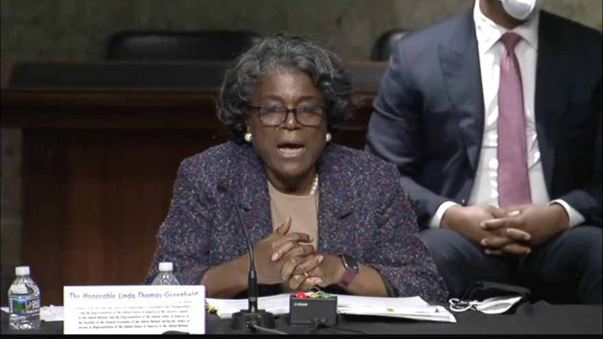 U.S. Ambassador to the United Nations nominee Linda Thomas-Greenfield testifies in her nomination hearing at the U.S. Senate Foreign Relations Committee on Jan. 27, 2021. Source: Screenshot.
