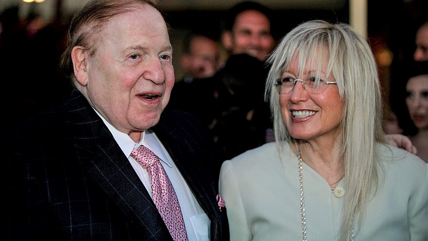 American business magnate Sheldon Adelson and his wife, Dr. Miriam Adelson, on July 1, 2009. Photo by Moshe Shai/Flash90.