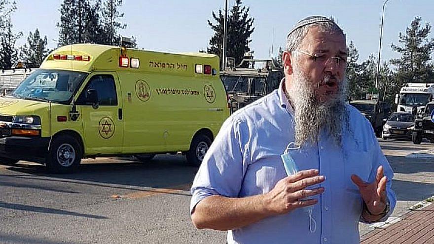 Gush Etzion Regional Council head Shlomo Ne'eman at the scene of an attempted terror attack at Gush Etzion Junction, southwest of Jerusalem, on Jan 5, 2021. Credit: Gush Etzion spokesman.