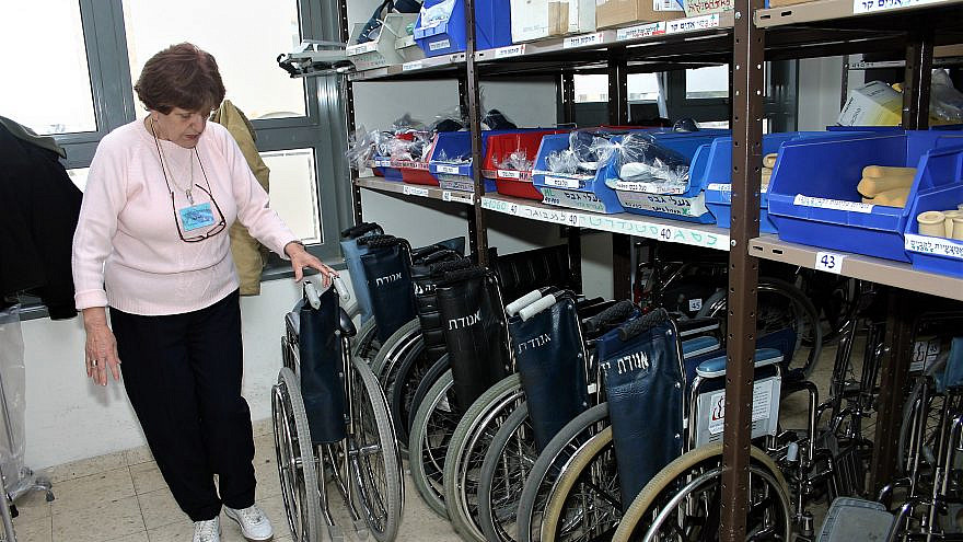Medical equipment lent out by Yad Sarah. Credit: Courtesy.