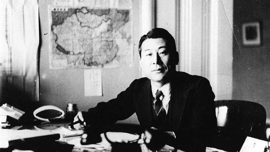 Chiune Sugihara at his desk in Vilnius, Lithuania. Credit: Wikimedia Commons.