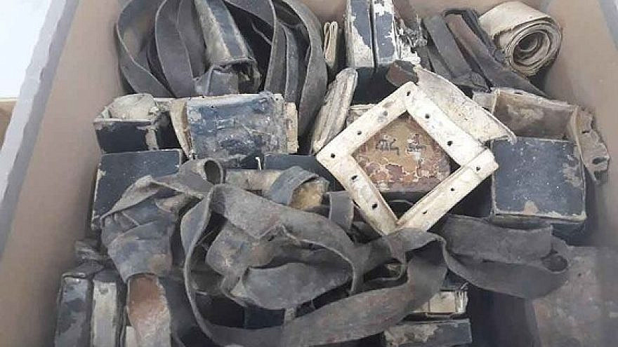 These phylacteries were found in a bunker unearthed in the ruins of the Warsaw Ghetto. Courtesy: Shem Olam Faith and the Holocaust Institute.