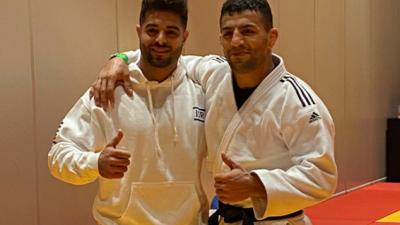 Israeli judoka Sagi Muki (left) and Saeid Mollaei in Tel Aviv on Feb. 16, 2021. Credit: Israel Judo Association.
