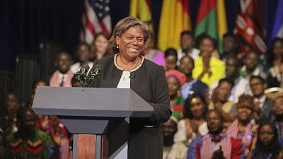 Linda Thomas-Greenfield speaking on Aug. 3, 2016. Credit: Tim Brown/U.S. State Department.