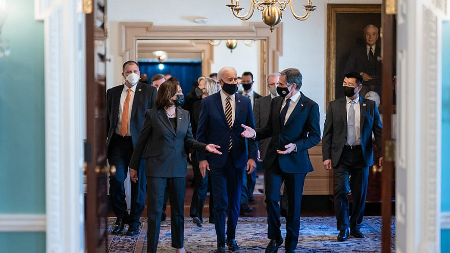 U.S. President Joe Biden walks with Vice President Kamala Harris and Secretary of State Tony Blinken after delivering remarks at the U.S. State Department in Washington, D.C., on Feb. 4, 2021. Credit: Official White House Photo by Adam Schultz.