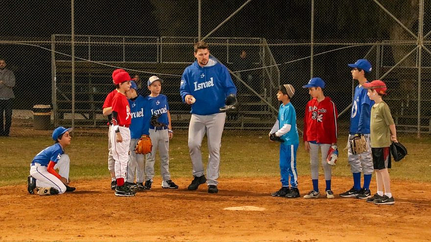 Israeli Little Leaguers taking part in drills with Israels Olympic Baseball team in 2019. Credit: Israel Baseball.