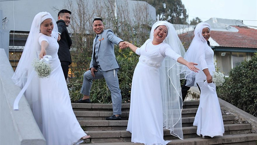 Eleven Bnei Menashe couples who immigrated to Israel from northeastern India were remarried in a group ceremony near Netanya after completing their formal conversion to Judaism by the Chief Rabbinate, Feb. 3, 2021. Photo by Laura Ben David, courtesy of Shavei Israel.