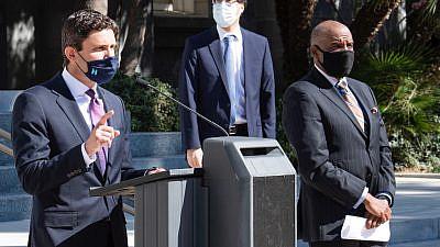 California Assemblyman Jesse Gabriel, chair of the California Legislative Jewish Caucus, speaksin the state capital of Sacramento, February 2021. Source: Jewish Caucus via Twitter.