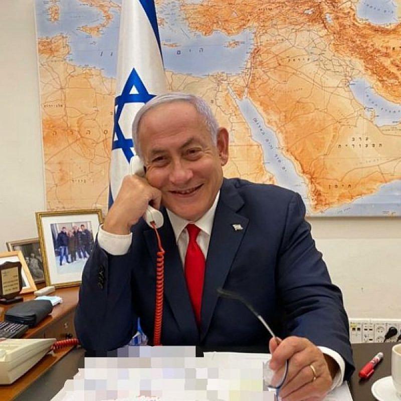 Israeli Prime Minister Benjamin Netanyahu speaking by phone with U.S. President Joe Biden. Source: Israeli Prime Minister/Twitter.