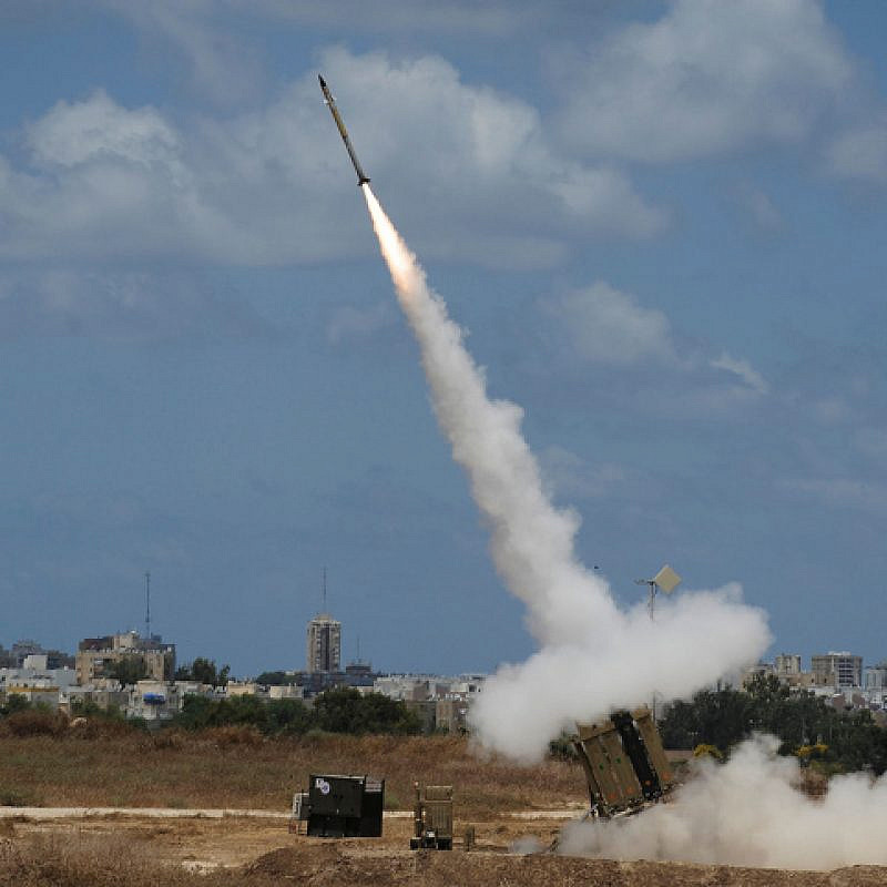 An Iron Dome air-defense battery set near the southern Israeli city of Ashdod fires an intercepting missile on July 14, 2014. Photo by David Buimovitch/Flash90.