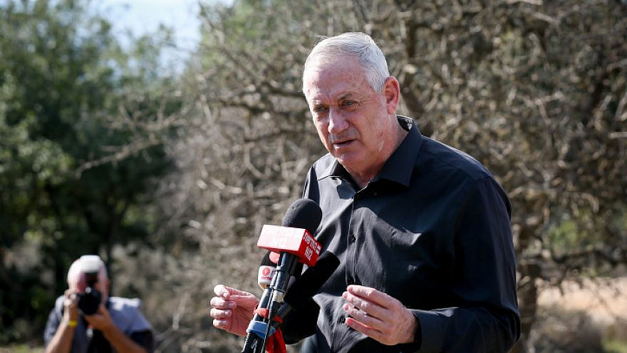 Israeli Defense Minister Benny Gantz visits the Israel-Lebanon border, on Nov. 17, 2020. Photo by David Cohen/Flash90.