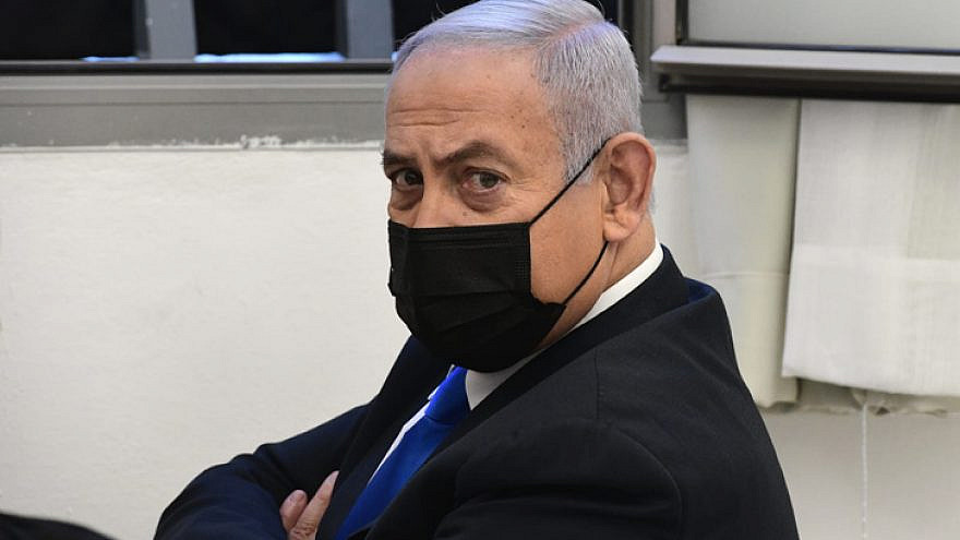 Israeli Prime Minister Benjamin Netanyahu at the Jerusalem District Court for a final pretrial hearing. He faces criminal allegations of bribery, fraud and breach of trust, Feb. 8, 2021. Photo by Reuven Kastro/POOL.