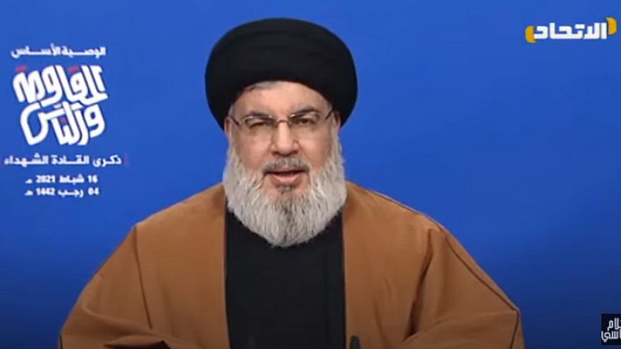 Hezbollah Chief Hassan Nasrallah delivering a speech on Feb.16, 2021. Source: YouTube/Screenshot.
