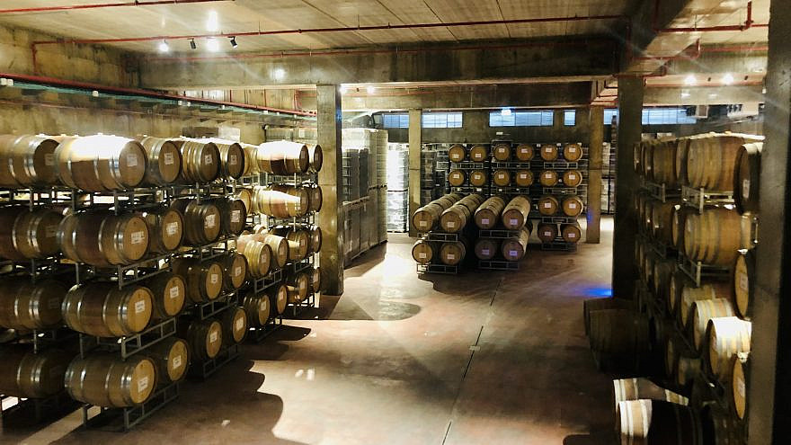 A view of the barrel room at Psagot Winery in the Binyamin region mountains of Judea and Samaria. Credit: Courtesy.