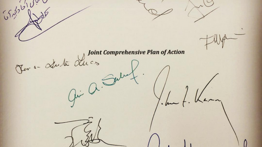 Signatures on the Joint Comprehensive Plan of Action (JCPOA) nuclear agreement with Iran. On the top left side is Persian handwriting by Iranian Foreign Minister Mohammad Javad Zarif. July 14, 2015. Credit: Wikimedia Commons.
