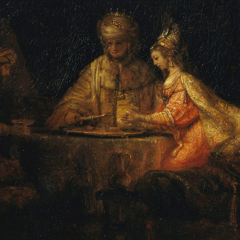 "King Ahasuerus and Haman at the ""Feast of Esther."" Credit: Rembrandt Painting, Pushkin Museum of Fine Arts, Moscow, via Wikimedia Commons."