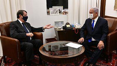 Cypriot President Nicos Anastasiades meets with Israeli Prime Minister Benjamin Netanyahu in Jerusalem on Sunday. Credit: Haim Zach /GPO.