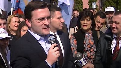 Nikola Selaković speaks to the press on March 12, 2014, prior to his current position as Serbia's foreign minister. Source: Screenshot.