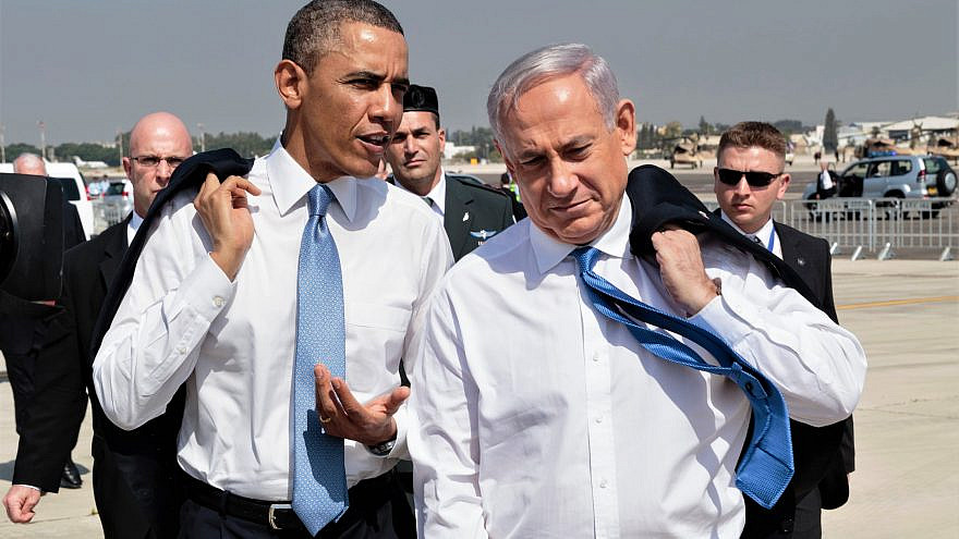 U.S. President Barack Obama with Israeli Prime Minister Benjamin Netanyahu on the tarmac at Ben-Gurion International Airport in Israel, March 20, 2013. Credit: White House Photo by Pete Souza.