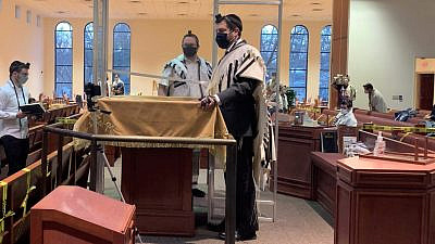 Rabbi Elie Mischel of Suburban Torah Center in Livingston, N.J. (left) and Rabbi Elliot Mathias, global COO of Aish HaTorah, speak to U.S. soldiers in Kuwait via Zoom on Friday morning to thank them for their service and welcome them for the Purim Megillah reading. Photo by Faygie Holt.
