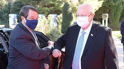 Israel's President Reuven Rivlin meets Cyprus President Nicos Anastasiades on Feb. 14, 2021. Credit: Amos Ben-Gershom/GPO.