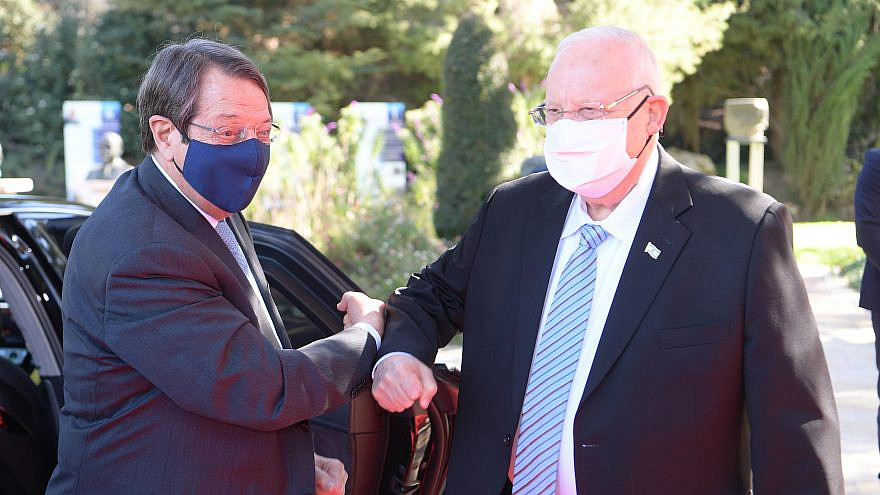Israel's President Reuven Rivlin meets Cyprus President Nicos Anastasiades on Feb. 14, 2021. Credit: Amos Ben-Gershom/GPO.