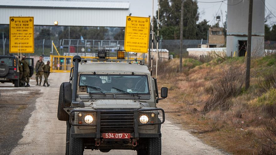 Israeli soldiers guard the Israeli side of the Quneitra Crossing to Syria in the Golan Heights on  March 23, 2019. Photo by Basel Awidat/Flash90.