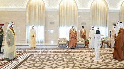 Mohammad Mahmoud Al Khajah, (right) the UAE's new ambassador to Israel being sworn in by Sheikh Mohammed bin Rashid Al Maktoum, vice-president and prime minister of the UAE and ruler of Dubai on Sunday in Abu Dhabi. Source: Twitter/Dubai Media Office.