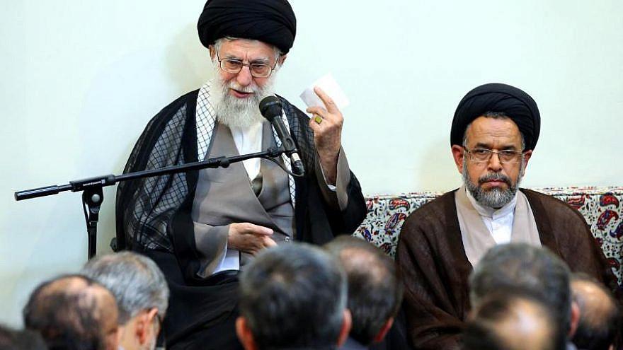 Iranian Intelligence Minister Mahmoud Alevi (right) sits next to Iran's Supreme Leader Ayatollah Ali Khamenei. Source: Khamenei.ir.