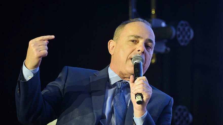 Israeli Minister of Energy Yuval Steinitz speaks at a conference in Tel Aviv on Feb. 21, 2019. Photo by Flash90.