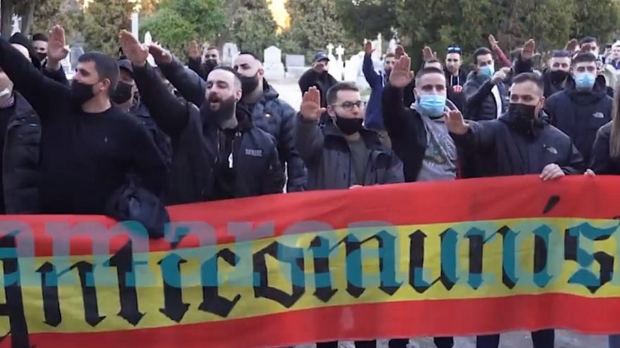 A neo-Nazy rally in Madrid, Spain. Source: Screenshot.