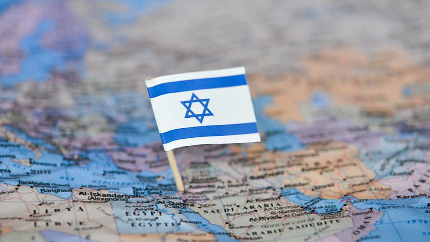 Map with the flag of Israel. Credit: Vrezh Gyozalyan/Shutterstock.