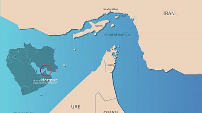 A vector map of the Gulf region and the Strait of Hormuz. Credit: tunasalmon/Shutterstock.