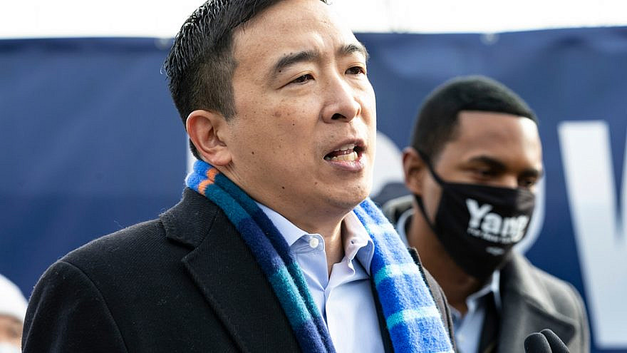 Former Democratic presidential candidate Andrew Yang speaks to the media during the announcement of his candidacy for mayor of New York City, February 2021. Credit: Lev Radin/Shutterstock.