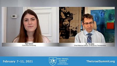 Moderna CMO Tal Zaks speaking at the Birthright Excel Israel Summit virtual conference. Source: Screenshot.