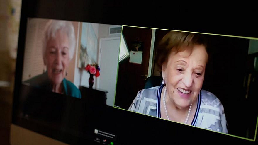 Betty Grebenshikoff (left) and Ana María Wahrenberg speak on Zoom after 82 years. Credit: USC Shoah Foundation.