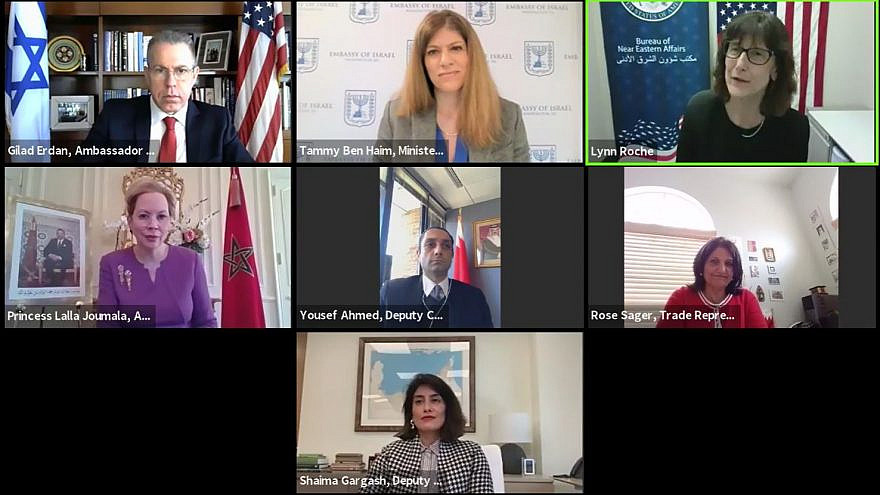 Israel's Ambassador to the United States and the United Nations Gilad Erdan with representatives of the embassies of the United Arab Emirates, Bahrain and Morocco. Source: Screenshot.