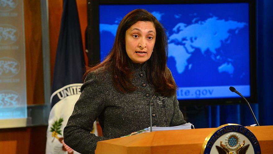 Uzra Zeya speaking at the U.S. State Department in 2014. Credit: U.S. State Department.
