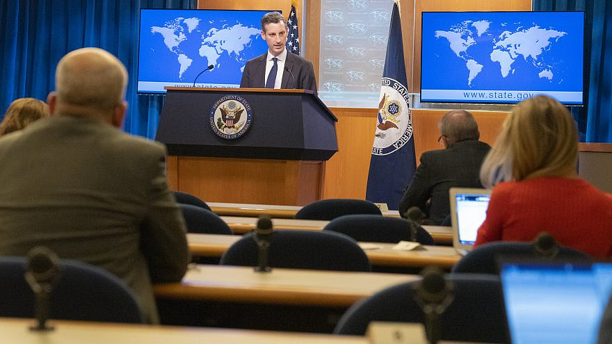 U.S. State Department spokesperson Ned Price holds a daily press briefing on March 1, 2021. Credit: U.S. State Department Photo by Freddie Everett/ Public Domain.
